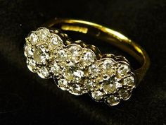 IMPRESSIVE VINTAGE ENGLISH 18K GOLD DIAMOND FLOWER RING 0.84ct w/ VALUATION Antique Gold Rings, Diamond Flower, 18k Gold, Wedding Rings, English, Engagement Rings, Antiques, Flowers, Ebay