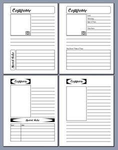 composer notebooking pages from The Notebooking Fairy