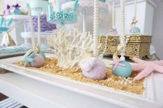 Just how beautiful are these mermaid inspired cake pops? I love them! See more party ideas and share yours at CatchMyParty.com