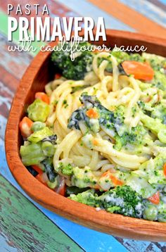We love this dish! Pasta Primavera with Creamy Cauliflower Sauce is the perfect frugal dinner and easy recipe for meatless nights. It can be made with any vegetables you have in the kitchen and the best part is that the sauce is made of cauliflower - the kids won't even taste it! ::  DontWastetheCrumbs.com