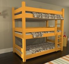 3 tier bunk beds with storage