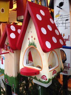 Mushroom bird houses at Stuttgart Christmas market, Germany