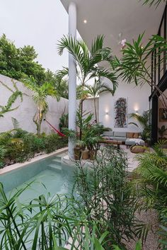 〚 Colorful villa in Mexico with small cozy courtyard and a swimming pool 〛 ◾ Photos ◾ Ideas ◾ Design #green #pool #exotic #jungle #interiordesign #homedecor #ideas #inspiration #tips #cozy #living #style #space #house Indoor Outdoor, Outdoor Living, Outdoor Decor, Stone Facade, Tropical Paradise, Sliding Glass Door, Swimming Pools, House Design, Villa Design