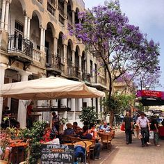 Outdoor dining in Tel Aviv, Israel.