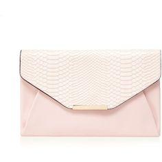 Red Herring Light pink snakeskin envelope clutch bag (£15) ❤ liked on Polyvore featuring bags, handbags, clutches, bolsos, purses, python purse, snake skin purse, envelope clutch, snakeskin purse and python print handbag