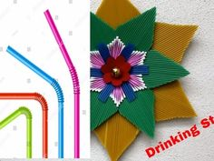 DIY Wall Decoration Idea Using Drinking Straws Straw Crafts, Sand Crafts, Paper Flowers Diy, Diy Paper, Plastic Bag Dispenser, Creative Diary, Pearl Crafts, Diwali Diy, Autumn Art