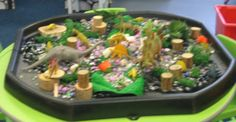 A dinosaur themed sensory play area for Nursery/Reception class.  Play area has shells, pebbles, dinosaur models, wooden blocks, off-cuts of material - a great way to encourage creative, imaginative play as well as to encourage young children to explore the properties of materials.
