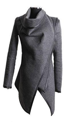 Grey wrap coat
