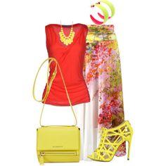 """Falda floreada"" by marisol-menahem on Polyvore - http://www.cutesyoriginals.com/product/common-17-yellow-mustard-strappy-peep-toe-lace-up-pump-stiletto-heels/"