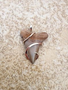 Fossilized sharks tooth tension set in hand forged polished sterling silver. $39.00, via Etsy.