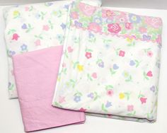 Vintage Twin Sheet Set, Fitted Flat and Pillowcase, Mod White Pink Lavender Yellow Green Blue Flowers Rick Rack, Girls or Dorm Room Bedding by GrammysGoodys on Etsy