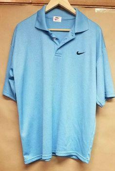 315b7c459f35 Men's Vintage Clothing · Vintage Nike Airliner Polo Shirt Light Blue Black  Swoosh 100% Cotton GREAT SHAPE #fashion