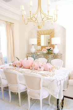 Pink Pumpkin Fall Tablescape - Randi Garrett Design Pink Pumpkin Fall Tablescape - this glam fall table is so easy to set with blush velvet pumpkins, cream dishes, gold flatware and lacy details Pink Pumpkins, Velvet Pumpkins, Shabby Chic Dining Room, Shabby Chic Furniture, Modern Furniture, Furniture Design, Fall Home Decor, Autumn Home, Warm Autumn
