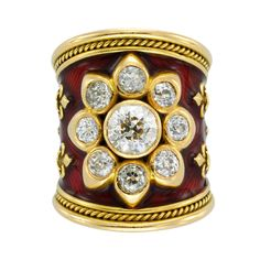 Elizabeth Gage Enamel Diamond Gold Ring | From a unique collection of vintage fashion rings at https://www.1stdibs.com/jewelry/rings/fashion-rings/