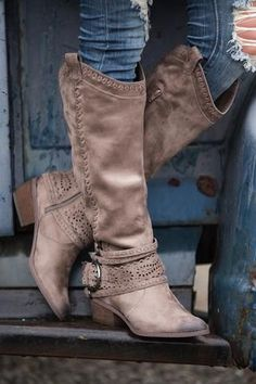 One Last Thing Laser Cutout Stitch Detail Boots (Taupe)
