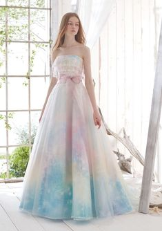 This glittering pastel rainbow gown from Pla Cole Wedding is making our hearts sing! - This glittering pastel rainbow gown from Pla Cole Wedding is making our hearts sing! Pretty Prom Dresses, Ball Dresses, Nice Dresses, Ball Gowns, Pastel Dresses, Pastel Wedding Dresses, Pastel Dress Formal, Pastel Color Dress, Pageant Dresses