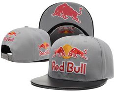 b74ded1d Red Bull Gray Snapback Hats Brim Black Leather Under Logo 2|only US$6.00 -