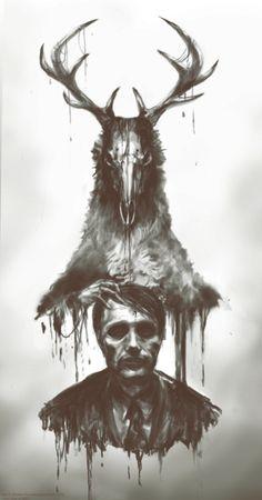 "Danish actor Mads Mikkelsen' likeness, is seen below in this artistic rendering from the TV series "" Hannibal"""
