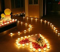 perfect friday night idea candles flowers wine and the man of your dreams Romantic Surprises For Him, Romantic Room Surprise, Romantic Date Night Ideas, Romantic Evening, Romantic Room Decoration, Romantic Bedroom Decor, Romantic Picnics, Romantic Dinners, Indoor Picnic Date