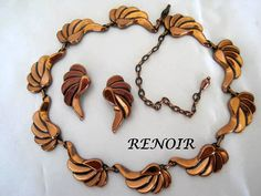 Copper Necklace Earrings Signed Renoir    by VintagObsessions