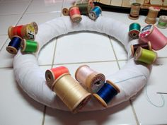 DIY Vintage Thread Spool Wreath | mrs. hughes