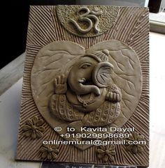 Ganesha made with air dry clay Clay Wall Art, Ceramic Wall Art, Mural Wall Art, Mural Painting, Paintings, Clay Ganesha, Ganesha Painting, Tanjore Painting, Lotus Kunst