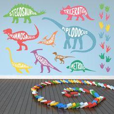 Named Dinosaurs Stegosaurus Triceratops Wall Decal Sticker Set Vinyl Art, Vinyl Decals, Wall Transfers, Dinosaur Wallpaper, Dinosaur Wall Decals, Nursery Stickers, Vinyl Frames, Family Tree Wall Decal, The Good Dinosaur