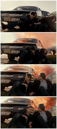 Okay, just look at the two first pictures, see how Dean protected Sam? Even when they're grown ups, Dean still the big brother, and for him, Sam will alway be his baby brother, and he will protect him even if that costs his own life Supernatural 12.08
