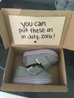 Baby announcement. Baby Toms shoes. How we told grandma.