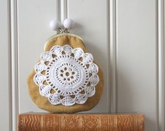 coin purse with vintage crocheted lace yellow by Tuuni