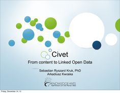 "A presentation about Civet, a service delivered by Knowledge Hives, we (Arek and Sebastian) gave on June 8th at SemTech 2011.     The presentation also mentioned results of the ""Semantic tools for digital libraries"" project a.k.a. SemLib, which is a 24th month R project supported by EU FP7 Theme: Research for SMEs (no. FP7-SME-2010-01-262301-SEMLIB) commenced in January 2011. More info at http://www.semlibproject.eu"