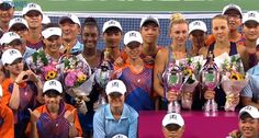 9/24/16 Via Tennis TV  ·  (L) The Guangzhou Open Doubles Champions Peng Shuai & Asia Muhammad and (R) Runners-up Olga Govortsova & Vera Lapko! (They're in there somewhere…) #WTA