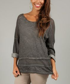 Loving this Gray Rosi Perforated Scoop Neck Top on #zulily by L'Atelier du 2ème, $45 !!  #zulilyfinds