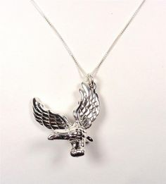 STERLING SILVER AMERICAN FREEDOM MAJESTIC EAGLE BIRD ANIMAL PENDANT NECKLACE