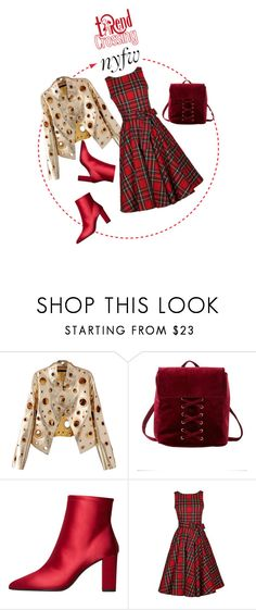 """""""Tartan and gold"""" by trendcrossing on Polyvore featuring moda, WithChic, Charlotte Russe, MANGO, tartandress e goldglam"""