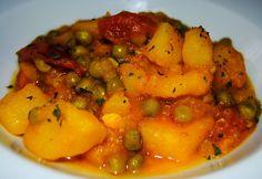 Patatas con guisantes o chícharos y especias (Aloo Matar)  | #Receta de cocina | #Vegana - Vegetariana ecoagricultor.com
