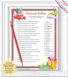 Christmas Riddles For Kids, Christmas Party Games For Groups, Fun Christmas Party Games, Its Christmas Eve, Christmas Jokes, Holiday Games, Christmas Ideas, Winter Christmas, Christmas Activities