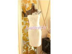 Elegant Short Wedding Dress (Ivory White Lace Dress/Lace Short Wedding Dress One-Shoulder/Knee-length dress)