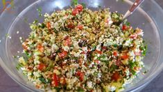 Greek Salad, Grains, Salads, Rice, Stuffed Peppers, Vegan, Vegetables, Cooking, Kitchen