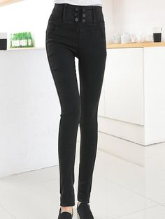 High Waist Button Bounce Slim Pants