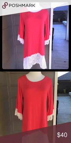 Coral lace long top/dress One size fits all. Pair with boots or skinny jeans! Extremely versatile and in new condition Dresses
