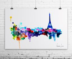 Eiffel Tower Paris  Giclee Art Print  by WatercolorPrint on Etsy