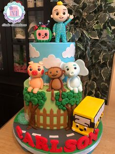 cocomelon Boys First Birthday Party Ideas, 1st Birthday Party Decorations, Baby Birthday Cakes, 1st Boy Birthday, Boy Birthday Parties, Aaliyah Birthday, Aniversario Peppa Pig, Jelly Cake, Kids Art Party