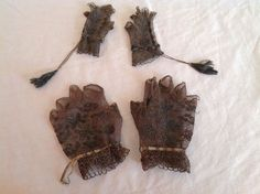 Antique Victorian Black Fingerless Gloves Crocheted Lace Mother Daughter Doll