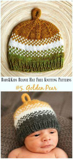 5252846c2bc Golden Pear Hat Knitting Free Pattern - Baby  amp  Kids Beanie  Hat  Free
