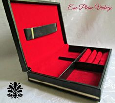 Mens Jewelry Box Valet Embossed Vinyl Gold Trim Swank Red Velveteen Made In…