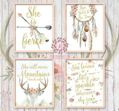 Set Lot of 4 Boho Bohemian Watercolor Gold Floral Nursery Baby Girl Room Prints Printable Print Wall Art Decor Print - She Is Fierce - Run Wild and Be Free - She Will Move Mountains When She Wakes - She leaves a little sparkle wherever she goes - arrows watercolor gold adventure dreamcatcher deer antlers bohemian feathers Tribal baby girl nursery gallery wall