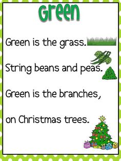 Teaching Colors – Green – Happy Home Fairy – preschool things – Kinder Preschool Poems, Kindergarten Songs, Preschool Colors, Kids Poems, Teaching Colors, Preschool Activities, English Poems For Children, Prek Literacy, Color Poem