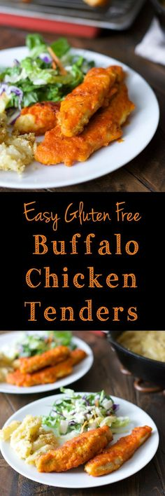 Buffalo Chicken Tenders make a quick, easy, satisfying dinner! You would never guess it is gluten free!