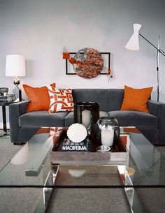 Decorating With Gray Grey Orange Living Room Living